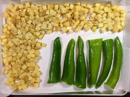 potatoes and peppers before roasting
