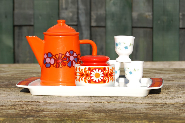 Studio Paars vintage pottery 70s jaren 70 servies kringloop kringloopgeluk thrift store