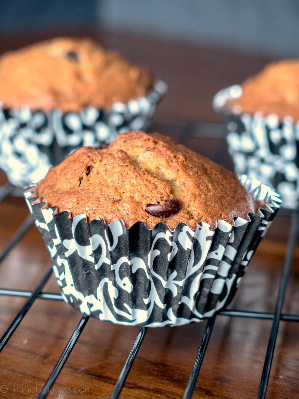 Chocolate Chip Banana Muffins | infinebalance.com #recipe #muffin
