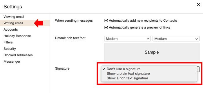 How to add email signature on yahoo mail step 2