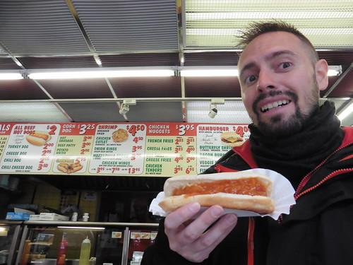 Dónde comer y gastronomía en Nueva York: Hot Dogs en Chelsea Papaya.