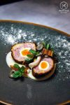 Quail Scotch egg/ Smoke potato + crispy pancetta + mushrooms