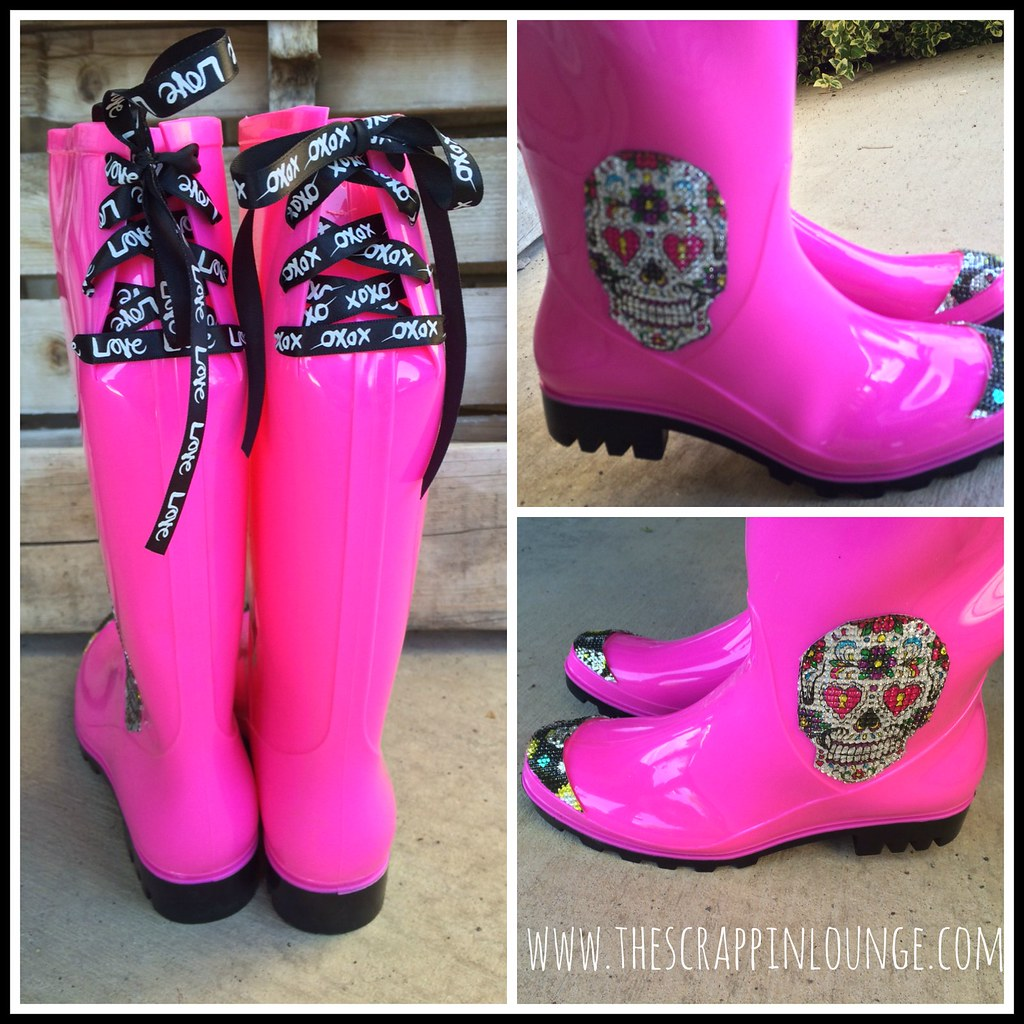 Sugar Skull Rainboots Collage