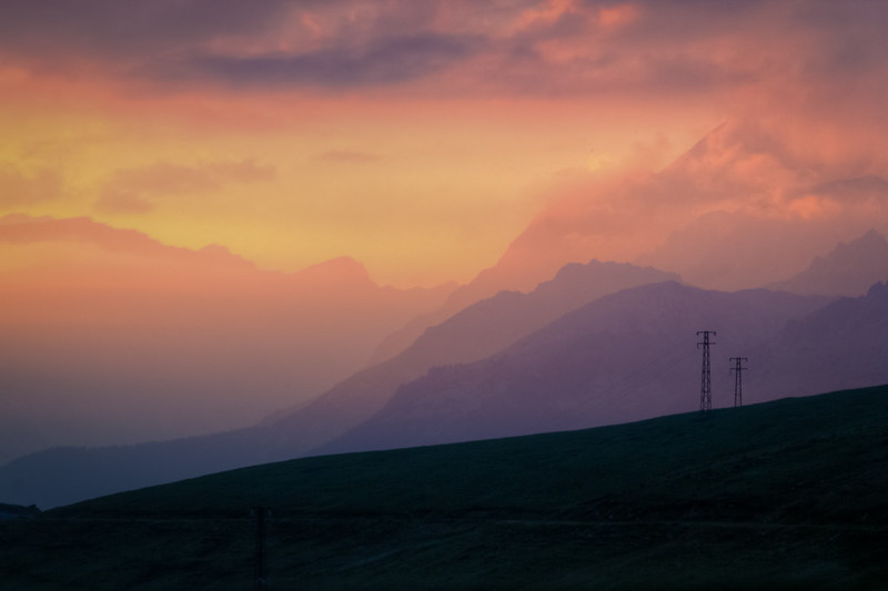 orange / purple sunset from the Alps
