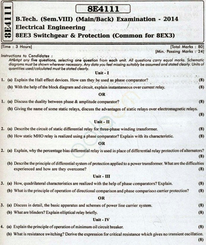 RTU: Question Papers 2014 - 8 Semester - EE - 8E4111