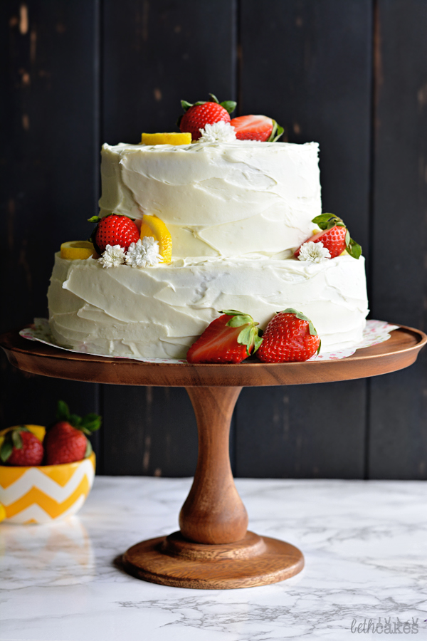 Strawberry Lemon Layer Cake! bethcakes.com