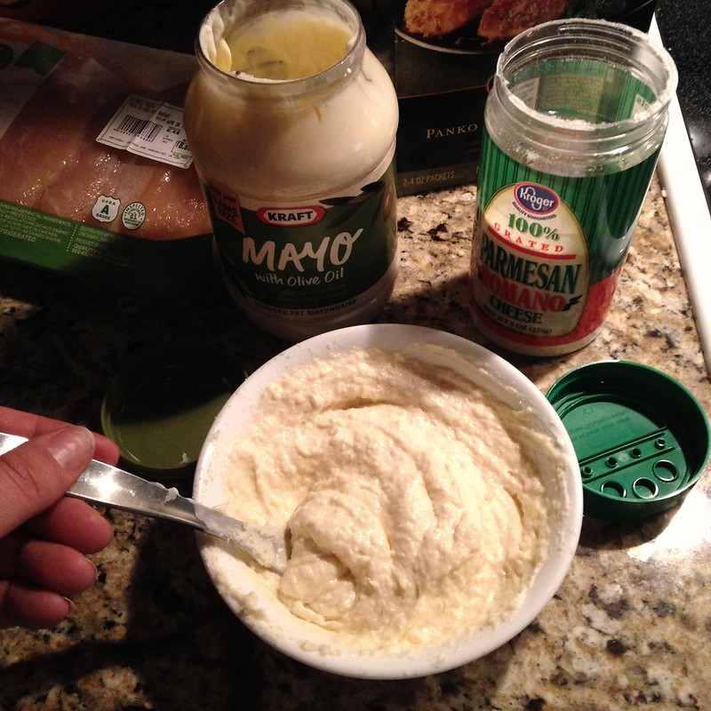 mix 1 cup mayo and 1/2 cup parmesan