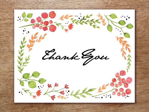 Thank You Note Printable - Water Color Flowers