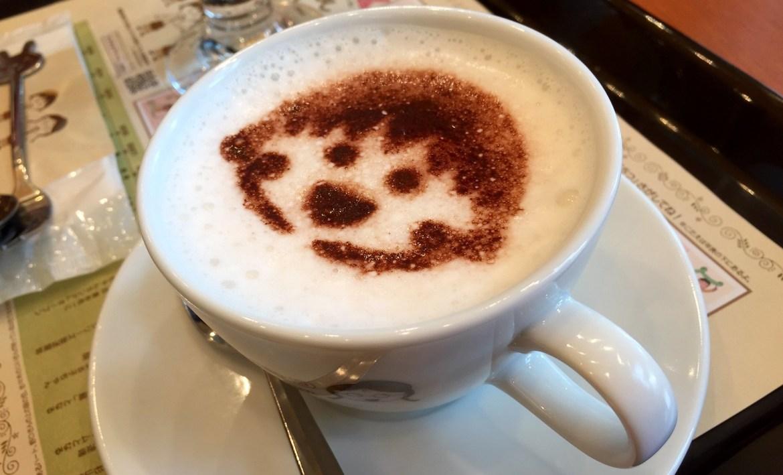 Coffee art Chibi Maruko Chan Cafe at FUJI TV building Odaiba