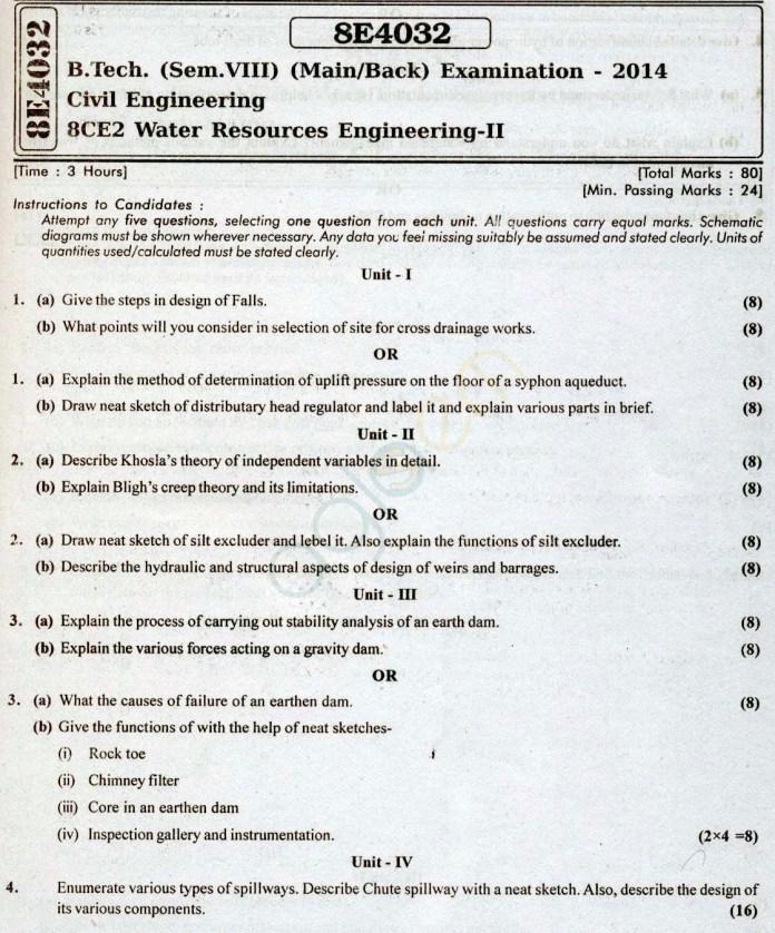 RTU: Question Papers 2014 - 8 Semester - CE - 8E4032