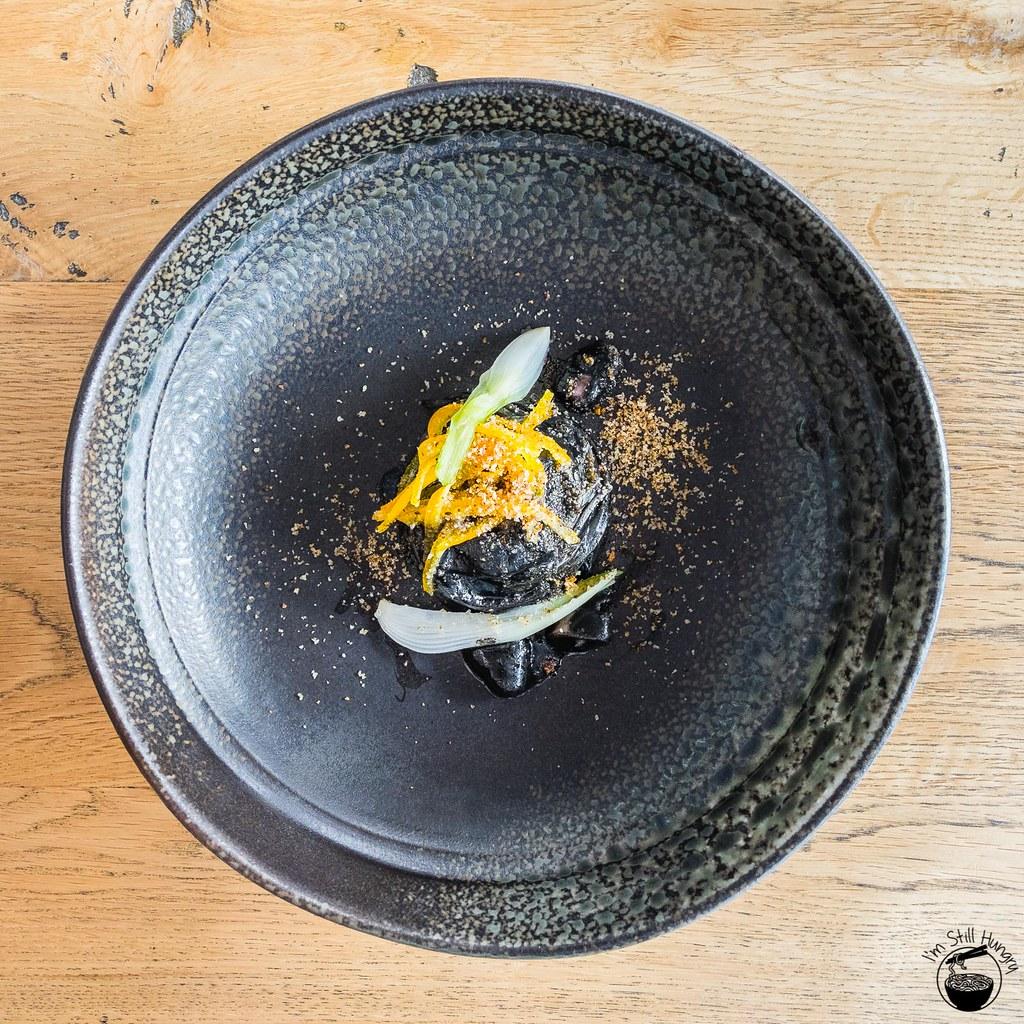 LuMi Dining Pyrmont Tonnarelli - bottle squid, orange, purplette onion