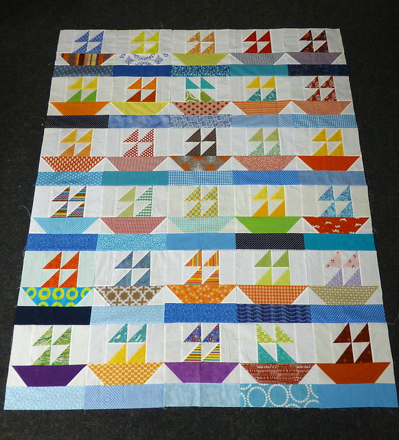 Bee Blessed Sail Boats Quilt top