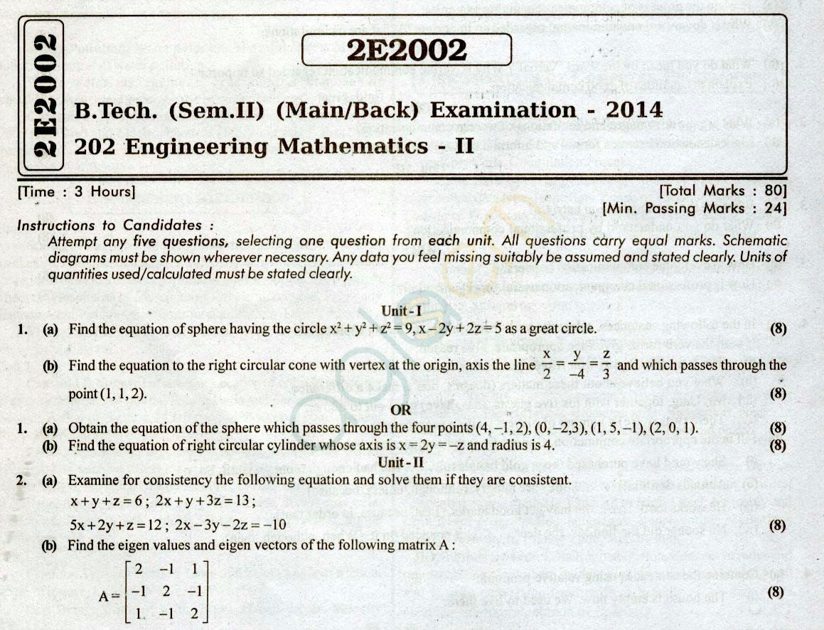 Rtu Question Papers 2 Semester All Branches Engineering Mathematics Ii