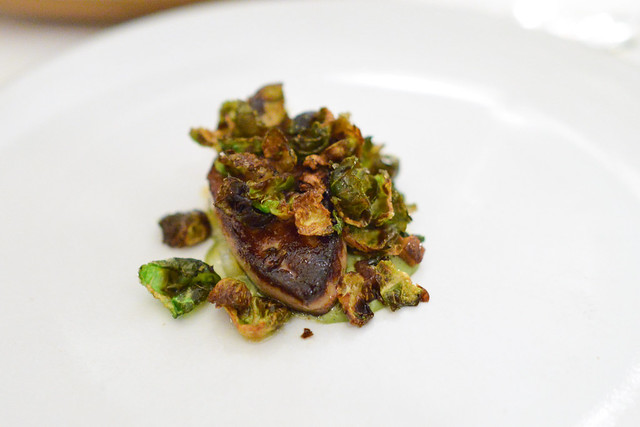 HUDSON VALLEY FOIE GRAS marinated with red cabbage and apple or seared with brussels sprouts and smoked eel