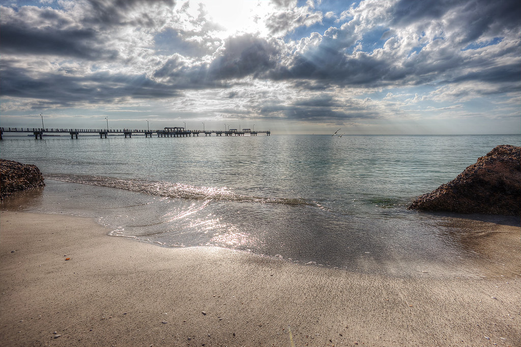 Looking out at the fishing pier from Fort de Soto Park.