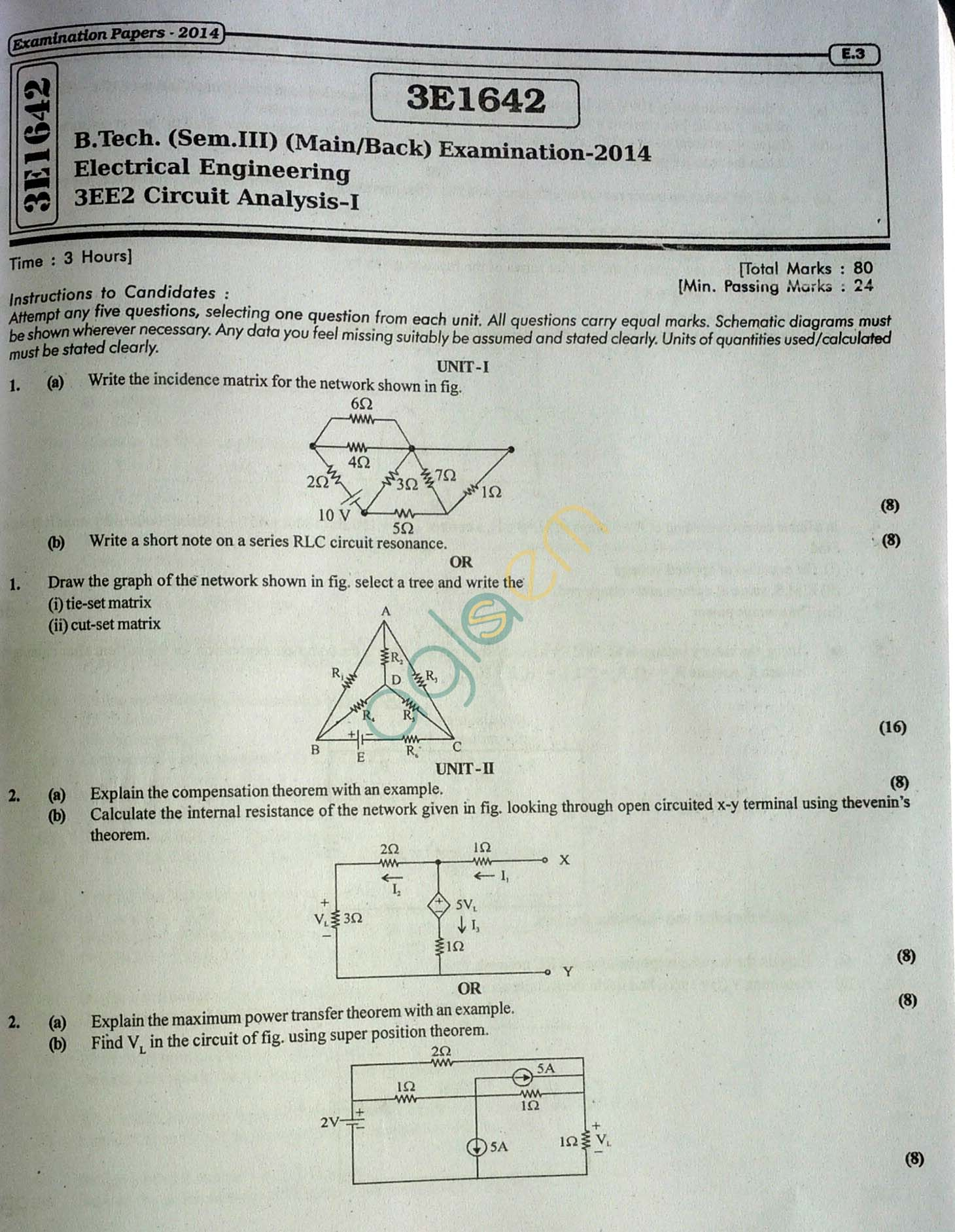 RTU: Question Papers 2014 - 3 Semester - EE - 3E1642