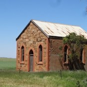 Mount Bryan East. Ruins of the Methodist Church built in 1913. Sir Hubert Wilkins attended the school next to this church.