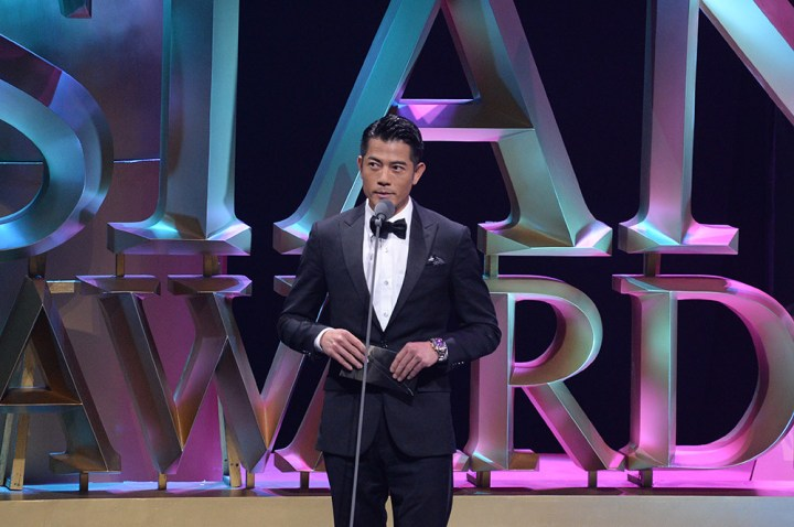 Celebrity judge, Aaron Kwok on stage