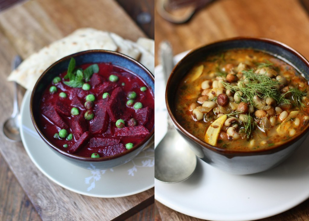 BEET-PEAS CURRY and Black eyed peas-Peanut Curry