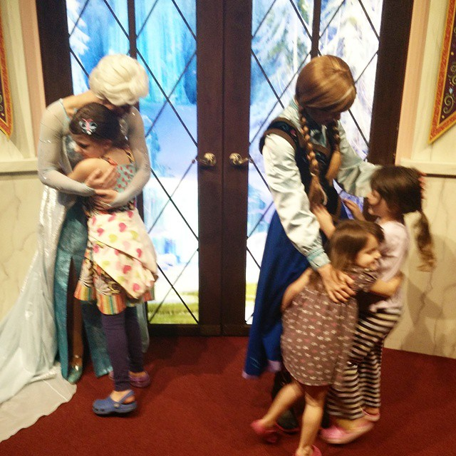 First time meeting Anna and Elsa. The love is real!