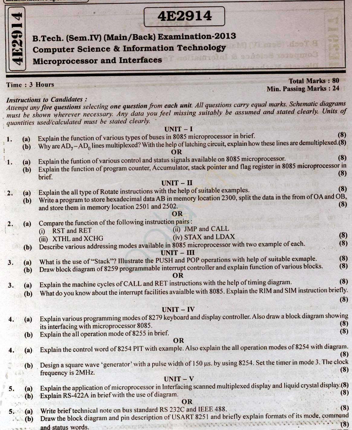 RTU: Question Papers 2013 - 4 Semester - CS & IT - 4E2914