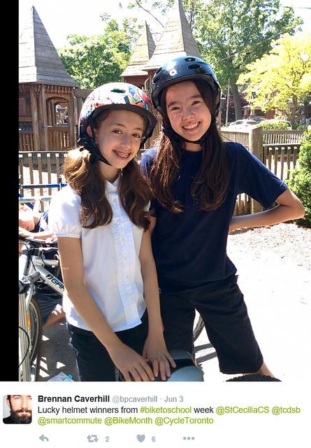 B2SW TCDSB St Cecilia tweet helmet winners