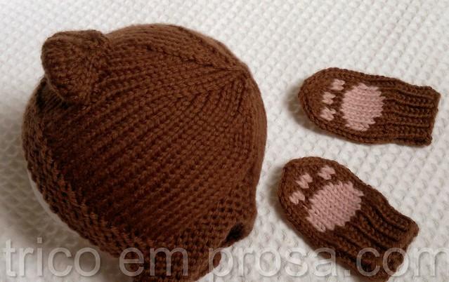 tricô em prosa - ursinho de luz - gorro e mitenes de filhote de urso