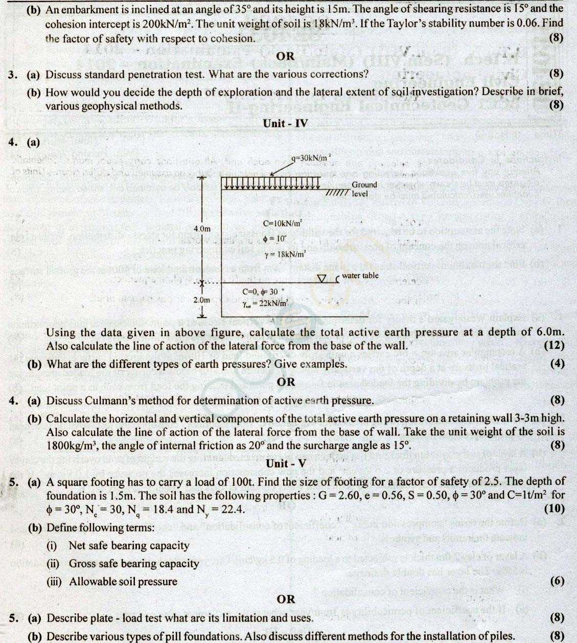 Rtu Question Papers 8 Semester Ce Geotechnical Engineering Ii