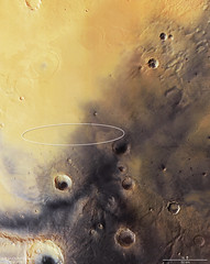 Mars Express image of Schiaparelli's landing site with ellipse