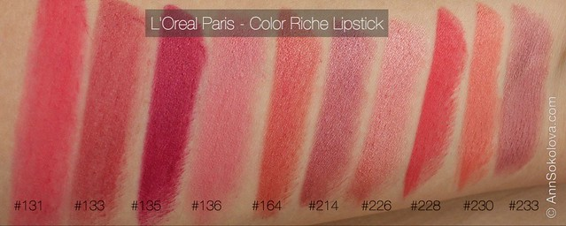 01 L'Oreal Paris Color Riche Lipstick 30 years new shades 131, 133, 135, 136, 164, 214, 226, 228, 230, 233 swatches