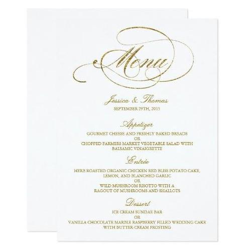 (Chic Faux Gold Foil Wedding Menu Template Card) #Celebrations, #Dinner, #Elegant, #ElegantWeddings, #Fancy, #Gold, #GoldFoil, #GoldWeddingMenu, #IDo, #Letterpress, #Marriages, #MatchingWeddingCollections, #Menu, #Menus, #New, #Party, #Receptions, #Rehear