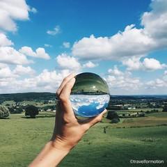 The #dinner #view #glass #ball #reflection #landscape #clouds #blue #sky #vsco #vscocam #green #travel #wanderlust #travelgram #ignetherlands #netherlands #photography