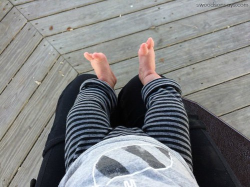 striped DIY baby leggings