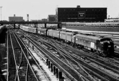Penn Central E-units ,Amtrak Chicago IL  April 1974,