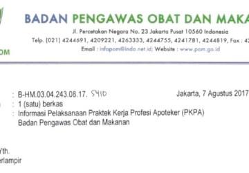 Informasi Pelaksanaan Praktek Kerja Profesi Apoteker (PKPA) Badan POM Bulan September 2017