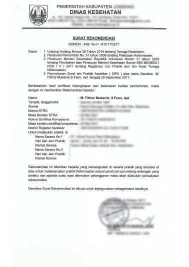 Rekomendasi SIPA dari dinkes