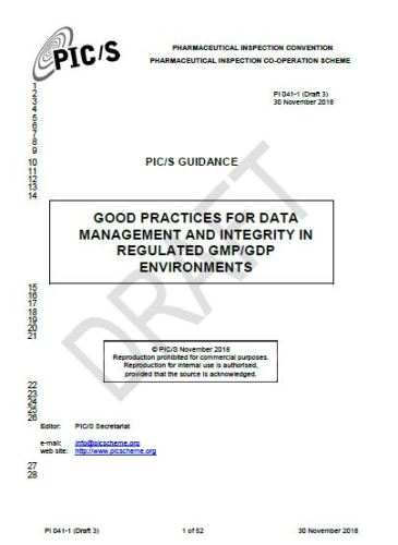 Share Guideline GOOD PRACTICES FOR DATA MANAGEMENT AND INTEGRITY IN REGULATED GMP/GDP ENVIRONMENTS