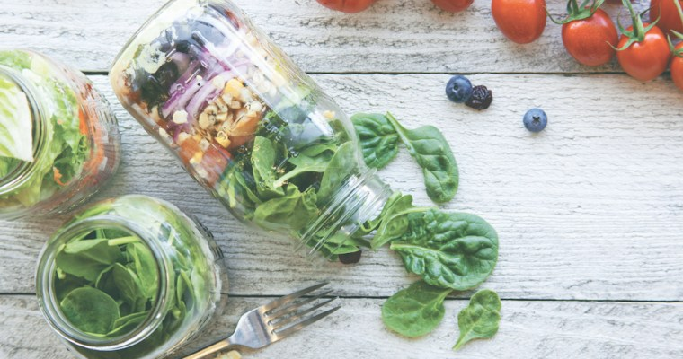 Arugula, Corn, Radish, and Pickled Red Cabbage Mason Jar Salads
