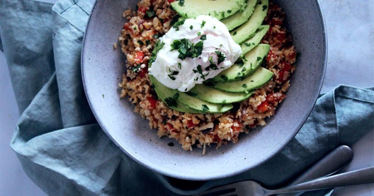 "Spiced Cauliflower ""Rice"" with Avocado and Poached Egg"