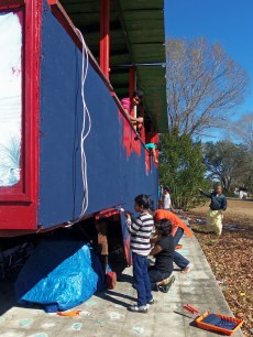 Painting the Float for Mardi Gras