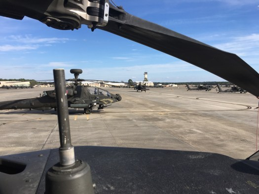 The view of the flight line from on top of the Apache