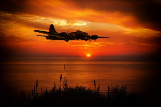 B17 at sunset