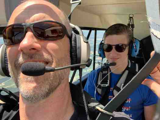 Dan and Carter in the Citabria flying to the Outer Banks