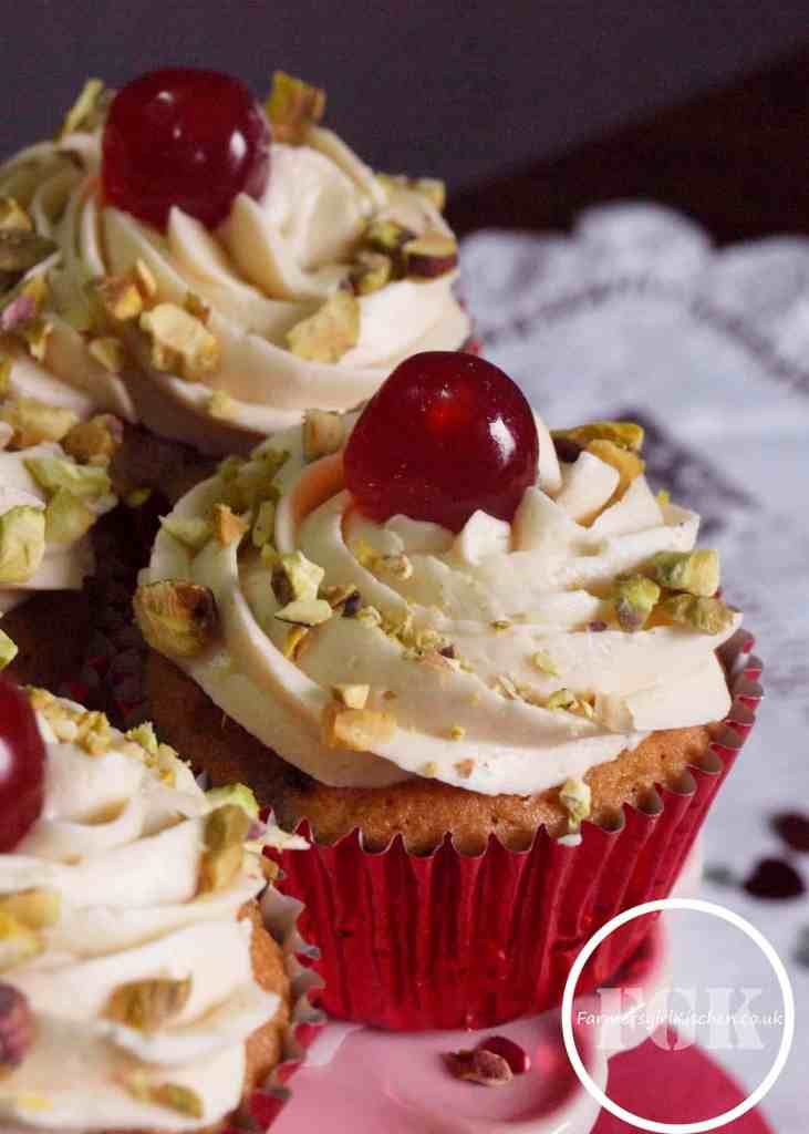 Cherry and Pistacho Cupcakes for Valentines Day