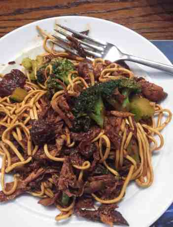 Farmersgirl Kitchen Honey and Garlic Chicken with Noodles and Broccoli