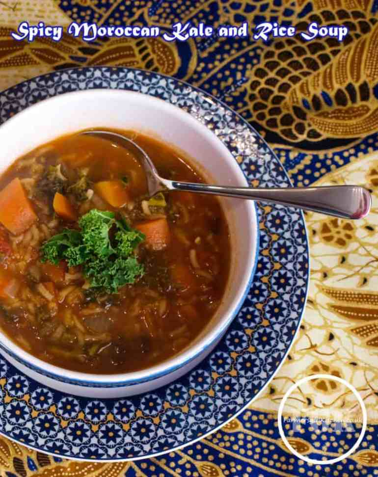 Spicy Moroccan Kale and Rice Soup
