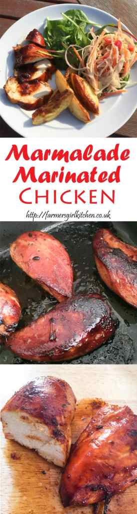 Marmalade Marinated Chicken, a perfectly sticky marinade for grilling or baking, perfect for outdoor eating.