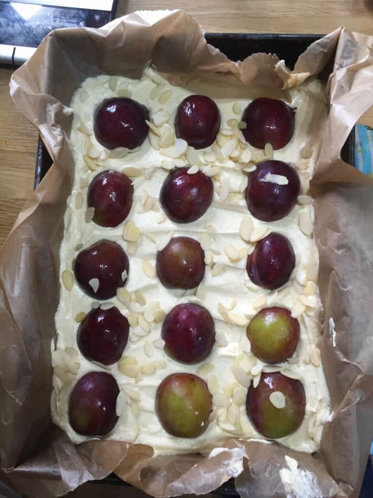 Plum and Almond Traybake Cake