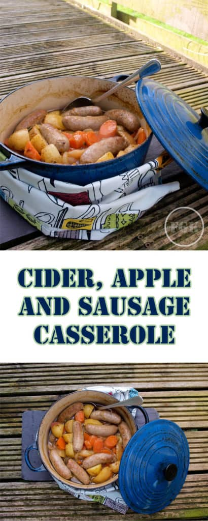 A warm and comforting Cider, Apple and Sausage Casserole adapted from and in tribute to Isabella King, Coriander Queen