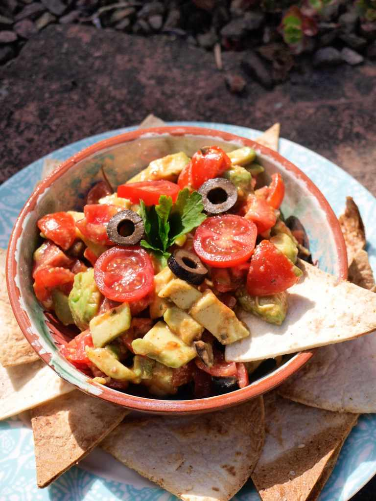 Summer calls out for Avocado and Olive Salsa with HealthyFry Tortilla Chips